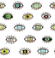 Eyes looking hand drawn seamless pattern vector image