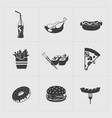 fast food black icon set on white vector image