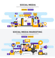 flat design concept banners - social media and vector image