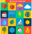 Flat ecology and energy icons vector image