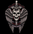 Winged Skull With Sword Stuck vector image