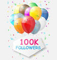 Milestone 100000 Followers Background with vector image vector image