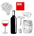 Wine set of bottle glass barrel grapes cheese vector image vector image