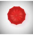 Opened red umbrella top view closeup vector image vector image