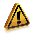 3d warning sign vector image