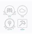 Hammer lab bulbs and weather cloud icons vector image