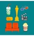 Set of various cinema intertainment things vector image