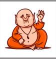 calm buddha raises his hand and greets vector image