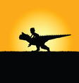 child with dinosaur adorable in nature silhouette vector image
