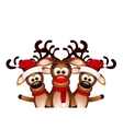 Christmas Card with three happy reindeer vector image