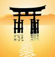 heritage shrine in Miyajima Japan vector image