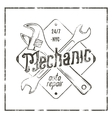 Mechanic auto repair label Vintage tee design vector image