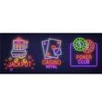 set neon logo label emblem casino and poker vector image