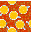 Beer mugs and pretzels pattern vector image