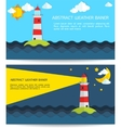 Modern weather background with lighthouse sun moon vector image