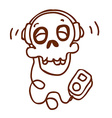 Hand Drawn Skeleton with Headphones vector image