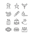flat bbq icons vector image vector image