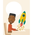 Black guy is happy to start up a new business vector image