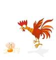 cartoon rooster in shock vector image