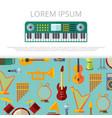 flat musical instrumets banner template vector image