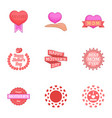 happy mama day icons set cartoon style vector image