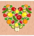 heart made of fruits and vegetables vector image