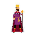 majestic king in gold crown standing and holding vector image