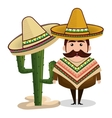 Man mexican hat cactus graphic vector image