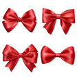 Set Collection of Festive Red Satin Bows Isolated vector image