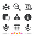 honey bees icons bumblebees symbols vector image