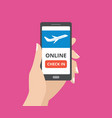 hand holding smartphone with online check in vector image