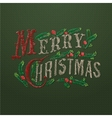 Embroidered Merry Christmas card vector image vector image
