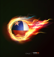 Chile flag with flying soccer ball on fire vector image