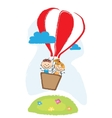 boy and girl aveling by hot air balloon vector image