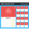 Calendar Planner for 2016 Year Design Clean vector image