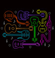 guitar in neon colors on a black back vector image
