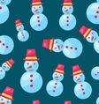 Seamless Christmas pattern snowman vector image