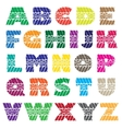 Tire track colorful alphabet vector image