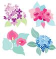 floral bouquets set vector image