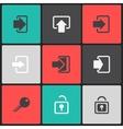 login web icon set on a color square vector image