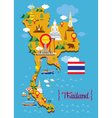 Thailand Map Detail Landmarks vector image