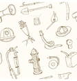 Doodle fire fighting tools seamless pattern vector image