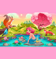 fantasy scene with mermaid and animals vector image