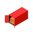 isometric red shipping container loaded with palet vector image