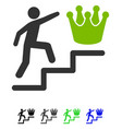 person steps to crown flat icon vector image