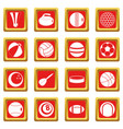 sport balls icons set red vector image