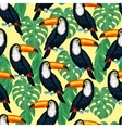 Tropical birds seamless pattern with toucans and vector image