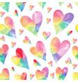 rainbow hearts seamless patter vector image