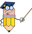 Pencil Teacher With Graduate Hat Holding A Pointer vector image vector image