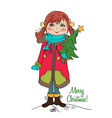 cute and happy young girl with a Christmas tree in vector image